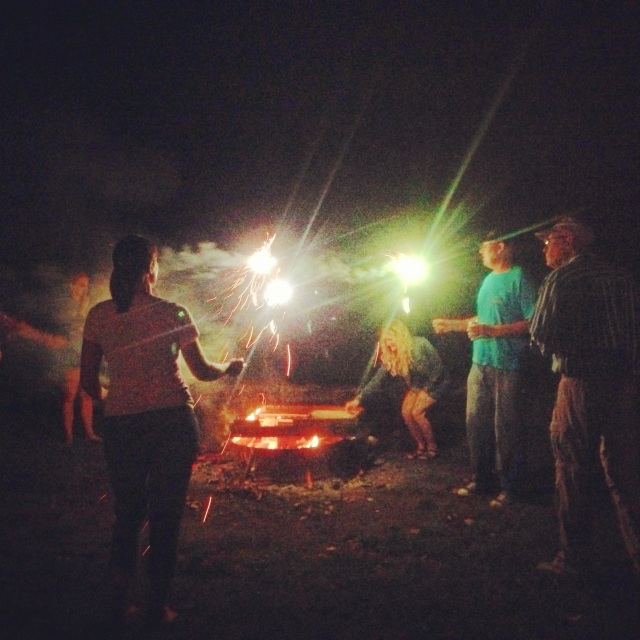 Bonfire celebration at our director's home following a performance night.
