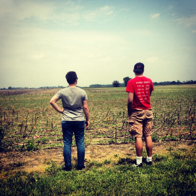 Actors Ryan and Stuart enjoying the view behind 'the floor.' Our surroundings keep us humble.